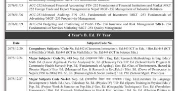 BSc , BBS , B.Ed 4th year Exam Schedule Date And Time